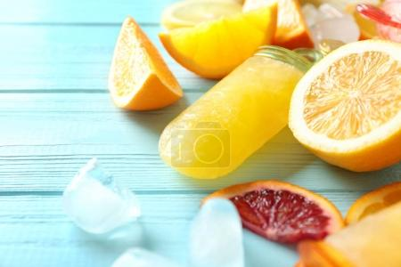 Tasty popsicles with ice cubes
