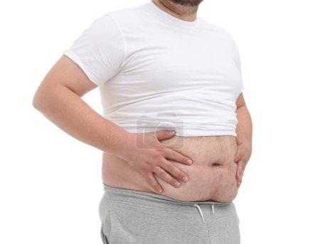 Fat man on white