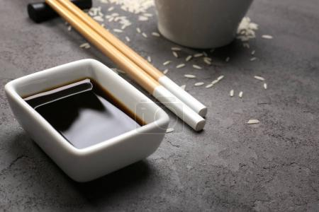 Bowl with tasty soy sauce