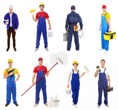 Photo pour Travailleurs de différentes professions sur fond blanc - image libre de droit