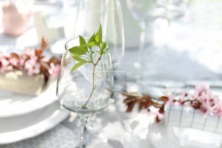 Table setting with floral decor, closeup