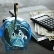Composition of piggy bank with dollars, notebooks ...