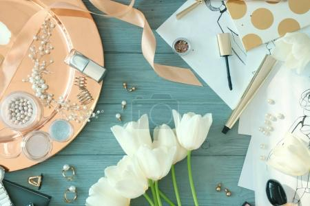 flowers, cosmetics, sketches and accessories