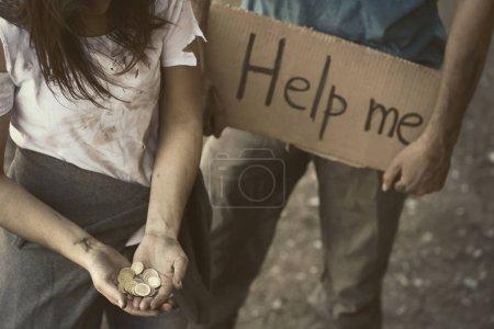 Poor people begging for help