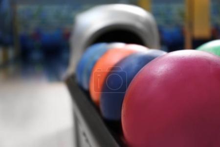 Colorful balls on rack