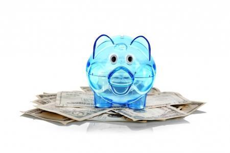 transparent blue piggy bank