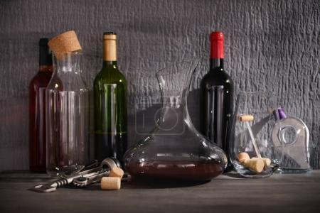 Glass carafe of wine