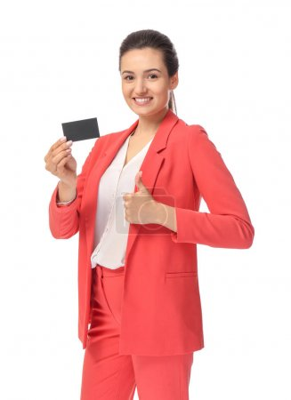 young woman with business card
