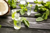 Perfume bottles, fresh mint and coconut