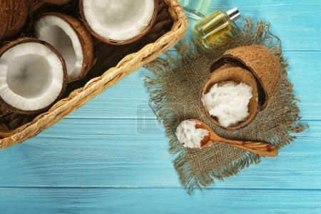 Fresh coconut oil in shell