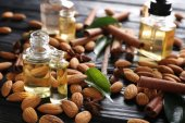Perfume bottles and almonds
