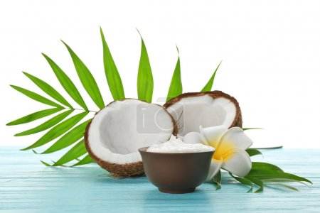 Bowl with fresh coconut oil