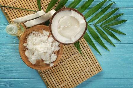 Plate with fresh coconut oil