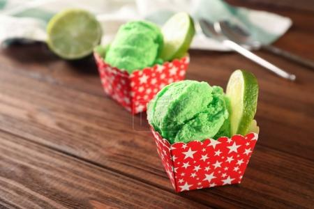 Tasty green ice cream