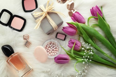 composition of cosmetics with tulips