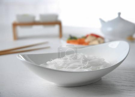 Rice noodle in white plate