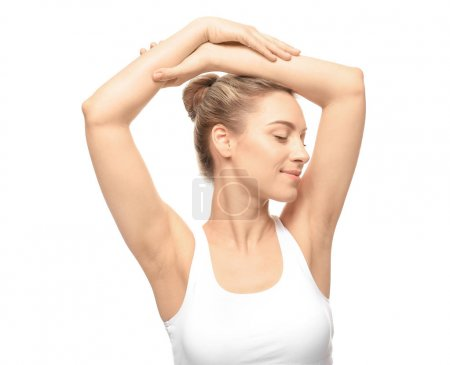 young woman with depilated armpits