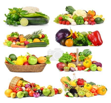 Collage of vegetables and fruits