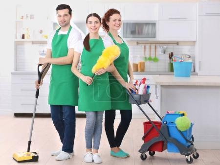 Cleaning service team working