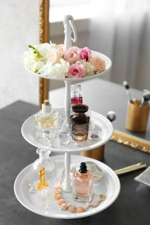 Tray with bottles of perfume