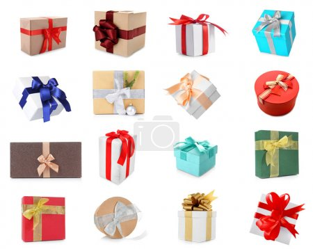 Collage of Christmas gift boxes