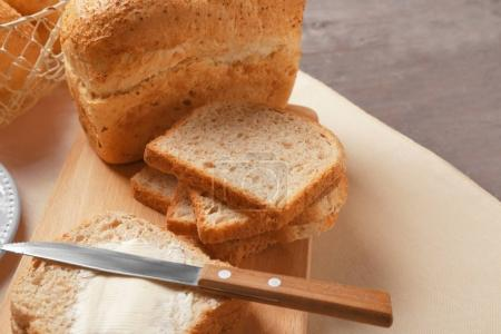Delicious bread slices with loaf