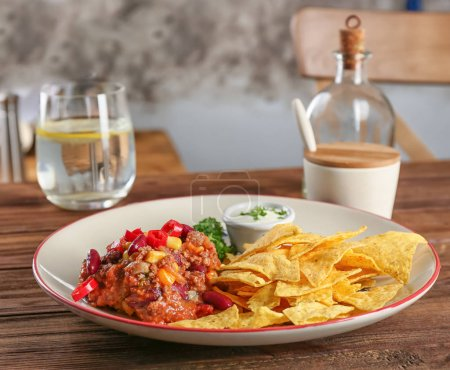 Plate with chili con carne