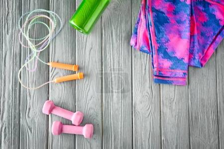 Jumping rope, dumbbells and sportswear