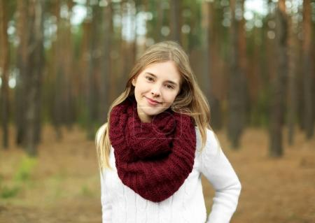 Photo for Portrait of beautiful smiling young woman outdoors - Royalty Free Image