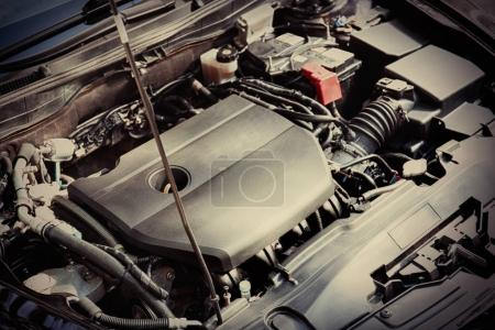 Closeup view of car engine. Auto mechanic service