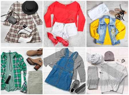 Collage with women's wardrobe for different seasons
