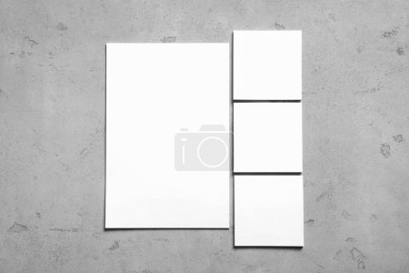 Blank cards on grey background. Mock up for design