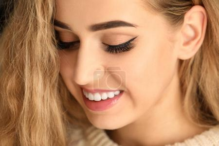 Photo for Portrait of beautiful smiling woman, closeup - Royalty Free Image