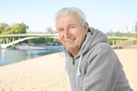 mature man on beach