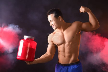 young man with protein powder