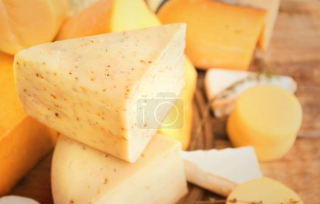 Photo for Variety of cheese on table, closeup - Royalty Free Image