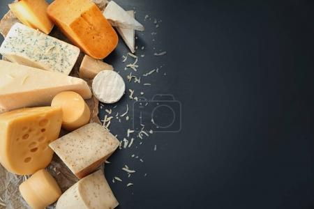 Photo for Variety of cheese on dark background - Royalty Free Image