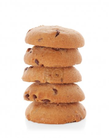 Delicious oatmeal cookies with chocolate chips on white background