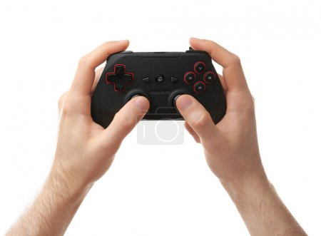 Man holding video game controller on white background