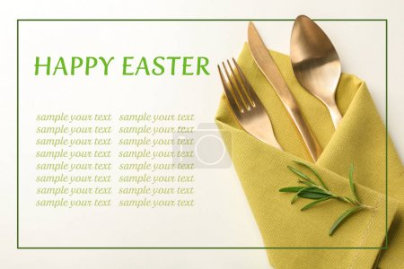Cutlery and napkin with floral decor for Easter dinner on white background