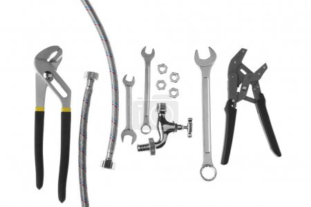 Photo for Plumber's items on white background - Royalty Free Image