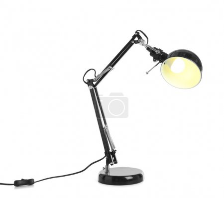 Electric desk lamp on white background
