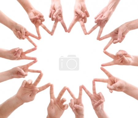 Young people making circle with their hands as symbol of unity, on white background
