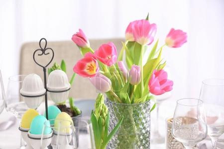 Bouquet of tulips for Easter table setting