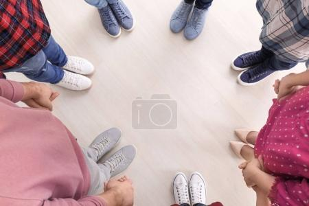 Photo for Group of people standing in circle and holding hands. Unity concept - Royalty Free Image