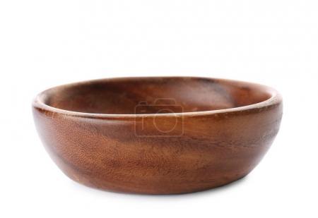 Wooden bowl on white