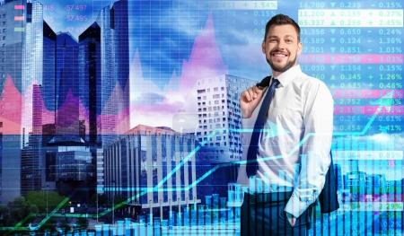 Double exposure of broker, stock exchange quotes and cityscape view