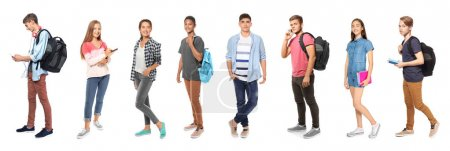 Photo for Youth lifestyle concept. Teenagers on white background - Royalty Free Image