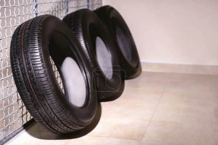 Photo for Car tires in automobile service center - Royalty Free Image
