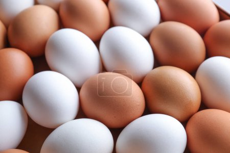 Photo for Raw chicken eggs as background - Royalty Free Image